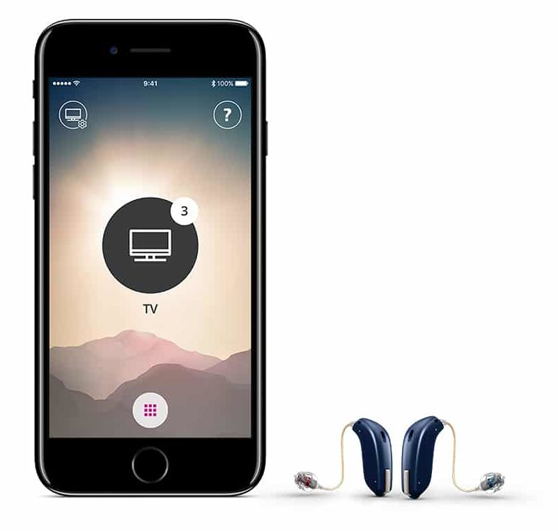 Smart phone with a pair of Bluetooth enabled hearing aids