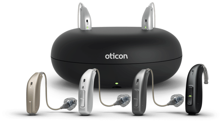 Oticon rechargeable battery unit with accompanying styles of hearing aids